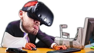 HORRIBLE VR ACCIDENTS | Selfie Tennis - VIVE
