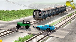 Stuck at rails (train railroad crossing crashes) #4 BeamNG.Drive