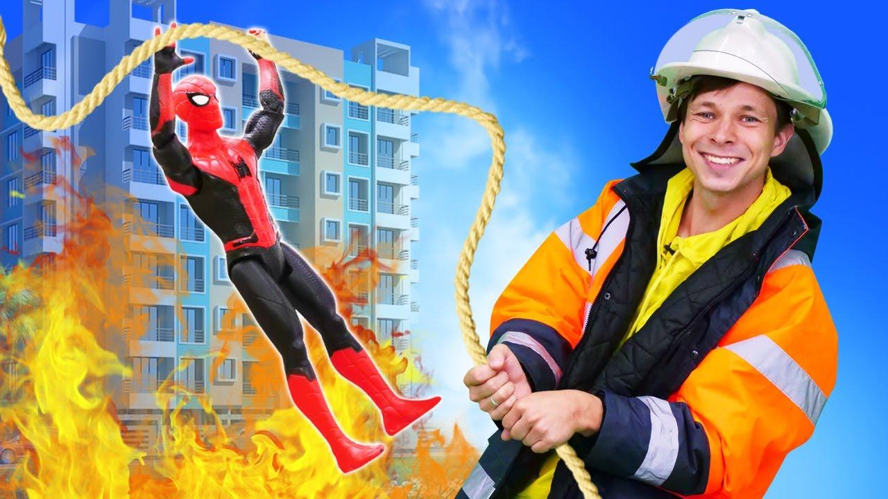 Супергерои спасают Тора из пожара! Видео про супергероев Марвел и машинки для мальчиков