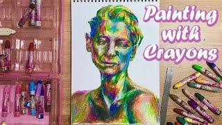 크레파스로 인물화 초상화 얼굴 그리는 법 ???? Portrait Painting Tutorial with Crayons, Oil Pastel / How to Draw face