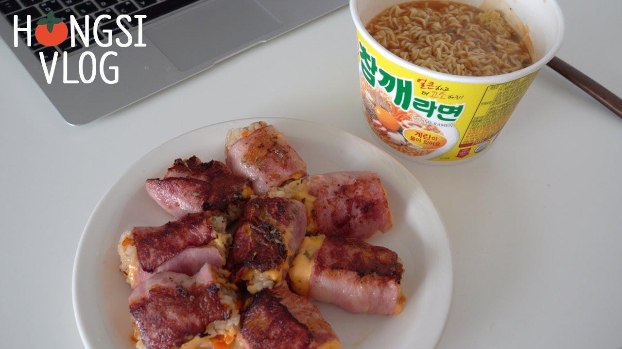 (ENG) vlog 집에서 칩거하면서 집밥 먹는 브이로그, 버섯 키워 먹고 매운갈비찜 첫도전(크림파스타,베이컨치즈말이,흑당크로플,코스트코 순대,돈까스샌드위치,초당옥수수)