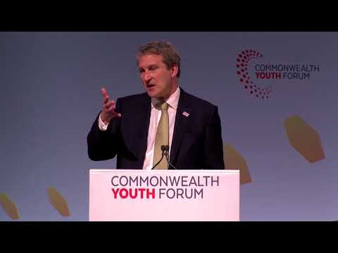 Secretary of State  Damian Hinds speaking at the Commonwealth Youth Forum