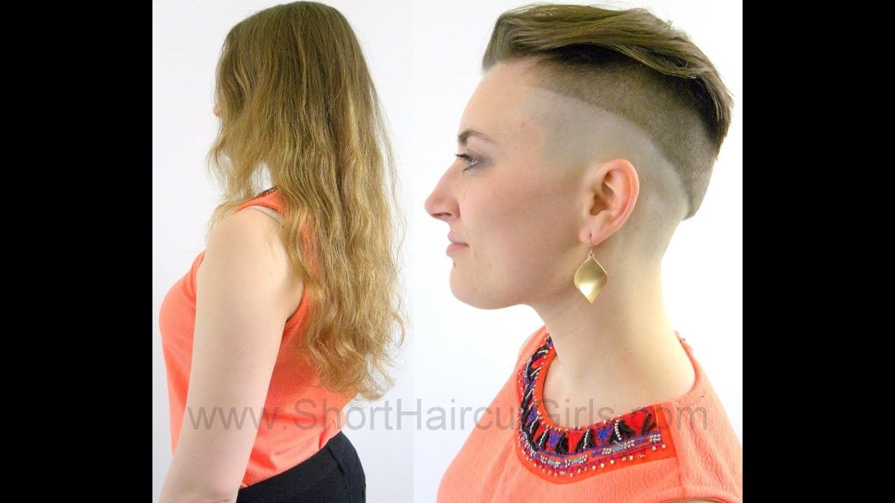 Girl hair cut short and shaved accept. The