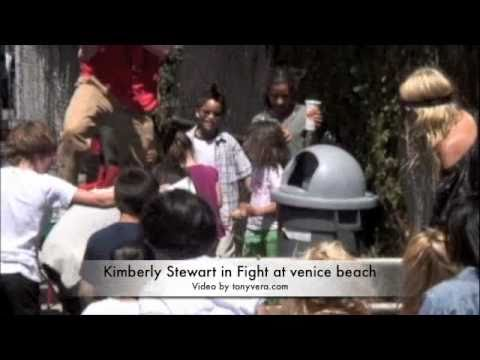 Kimberly Stewart in Fight she Kicks guy in the nuts at venice beach
