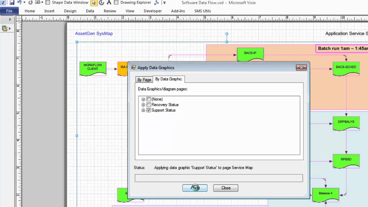 Applying and publishing data graphics to Visio diagrams quickly and easily