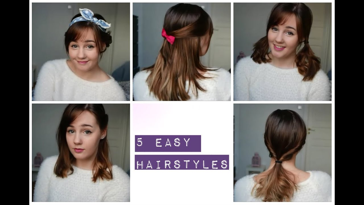 5 Easy And Cute Hairstyles Medium Length Hair YouTube
