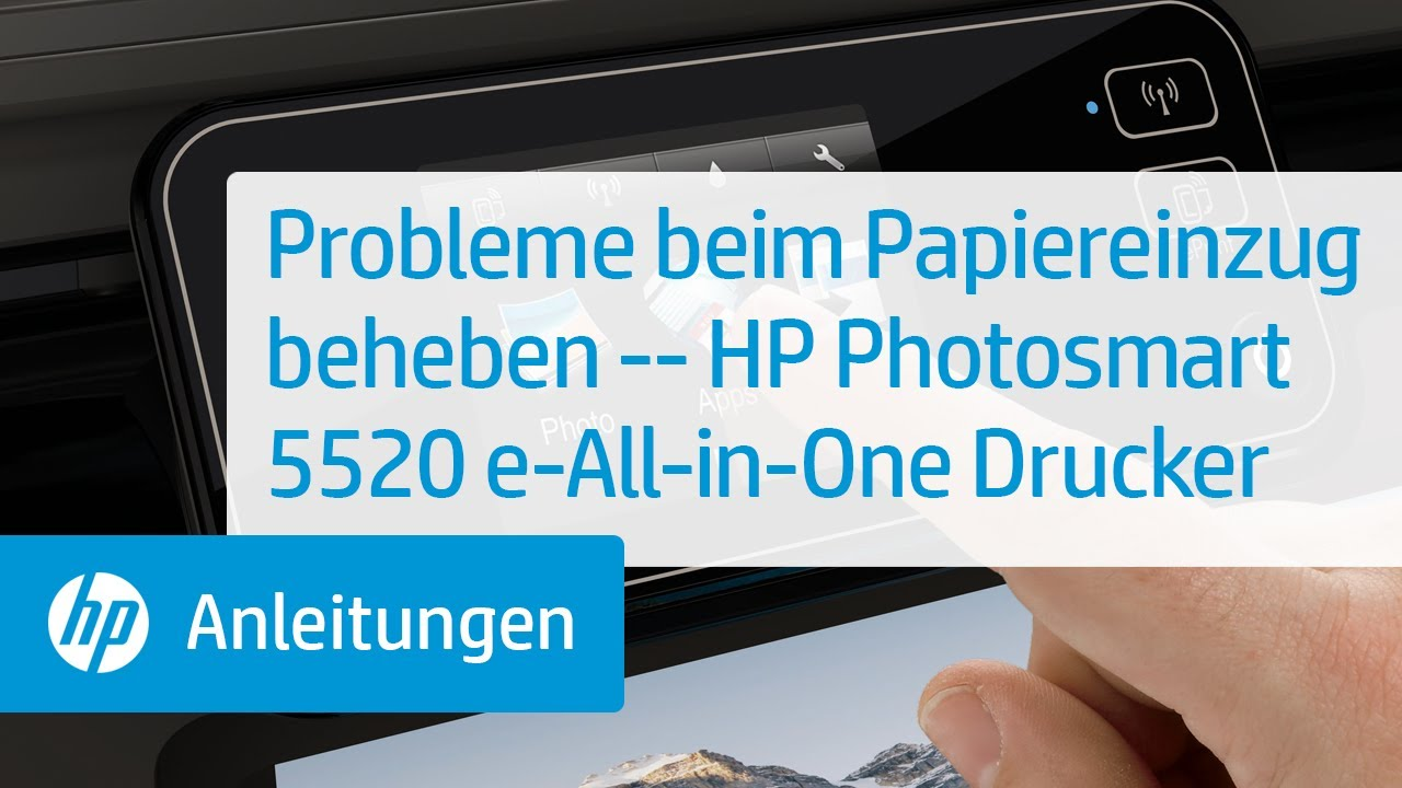 probleme beim papiereinzug beheben hp photosmart 5520 e all in one drucker youtube. Black Bedroom Furniture Sets. Home Design Ideas