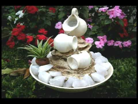 Fuente de agua el sol jarra triple caida blanca youtube for Jardines con fuentes