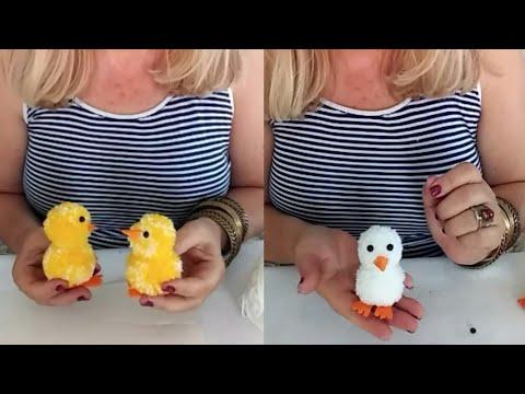 Sevimli oyuncaklar Pompomdan Civciv Yapımı DIY