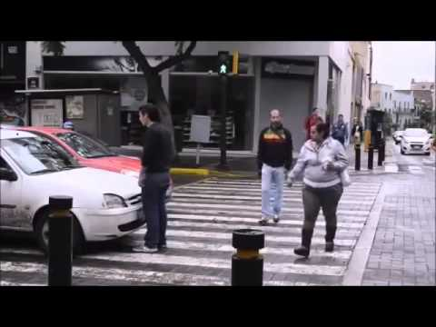 Car Stops Over the Crosswalk, Pedestrian Takes Action, In Russia, he'd already be run over 2