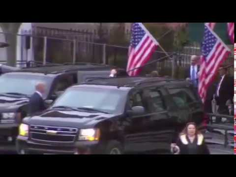 Donald Trump and MELANIA TRUMP depart Blair House for inauguration day