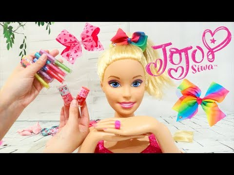 Jojo Siwa Merch - Bows Lip Gloss and Nail Polish on Barbie Styling Head With Color Change Makeup