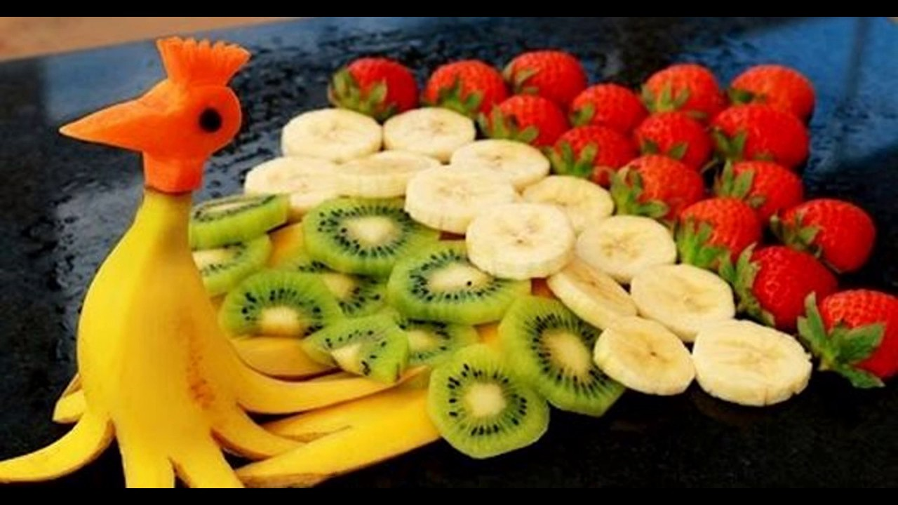 Ideas for banana fruit decoration youtube for Decoration fruit