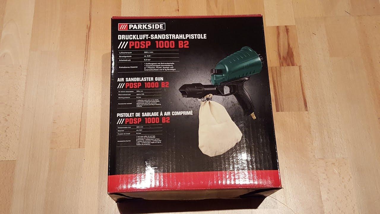 Parkside Pdsp 1000 B2 Druckluft Sandstrahlpistole Sandblasting Pistol Unboxing 4k