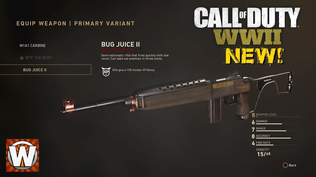 New Veriant In Call Of Duty Ww2 Heroic M1a1 Carbine