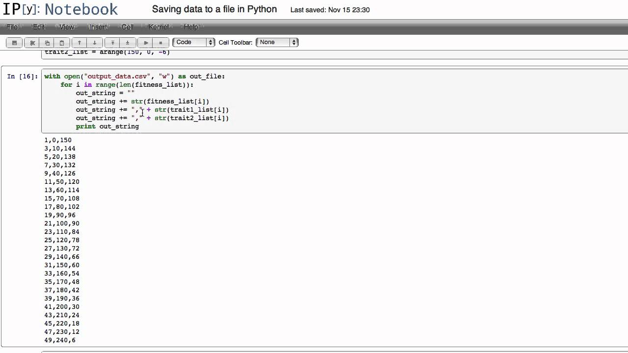 Saving data to a file in Python