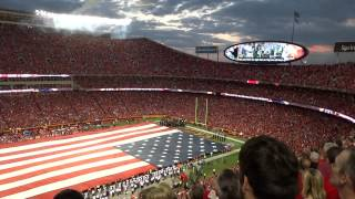 national anthem b2 stealth bomber flyover at arrowhead stadium