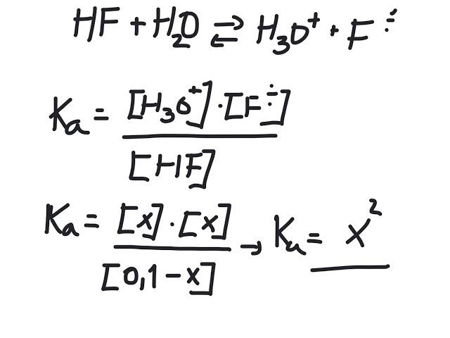 Kjemi 1 - Syrer og baser: Hvordan regne ut pH for en svak syre.