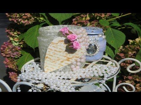 Decoupage Pretty Glass Jar Pinterest Inspired Youtube