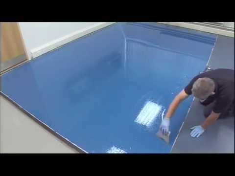 application of f-ball f76 moisture barrier for concrete floors