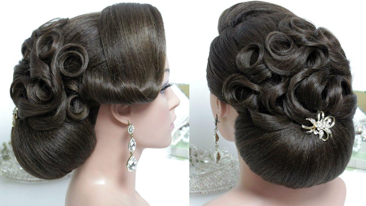Bridal hairstyle for long hair tutorial. Wedding bun updo