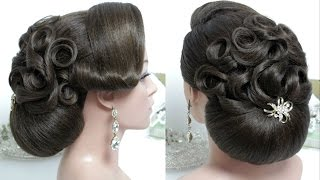 Bridal hairstyle  for long hair tutorial. Wedding bun updo step by step
