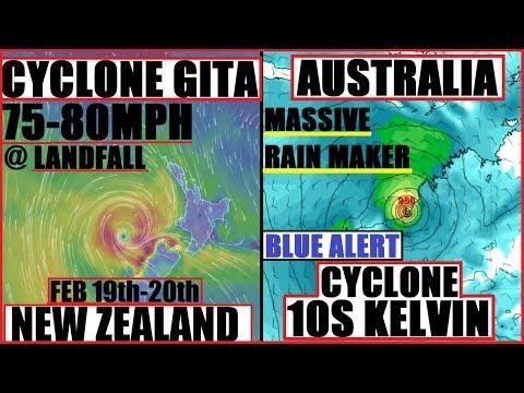 CYCLONE GITA New Zealand RECORD BREAKER?! AUSTRALIA CYCLONE KELVIN FLOODING & STRENGTHENING!