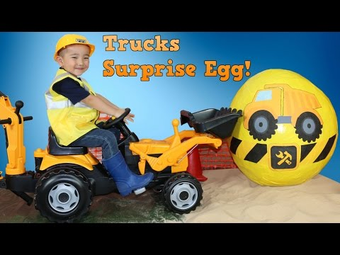 Fire Truck Diggers Garbage/Dump Trucks Bulldozer Tonka Trucks Super Giant Surprise Egg Toys Ckn Toys