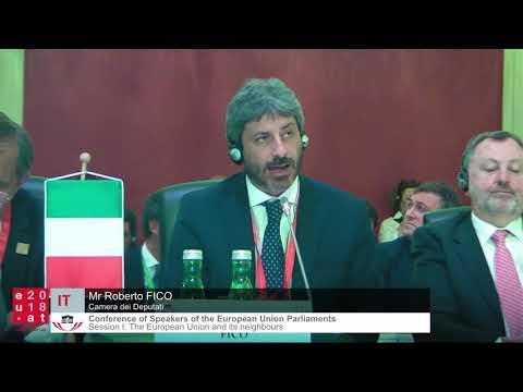 Il Presidente Roberto Fico alla Conferenza dei Presidenti dei Parlamenti dell'UE - Sessione I