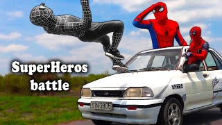 SUPERHEROS EPIC BATTLE | Spider-man, Venom Destroying Deadpool's Car | Người Nhện quay xe