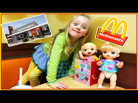 Ba A Dolls Mcdonalds Happy Meal and Kroger Kid Size Shopping Cart Trip W Play Doh Girl