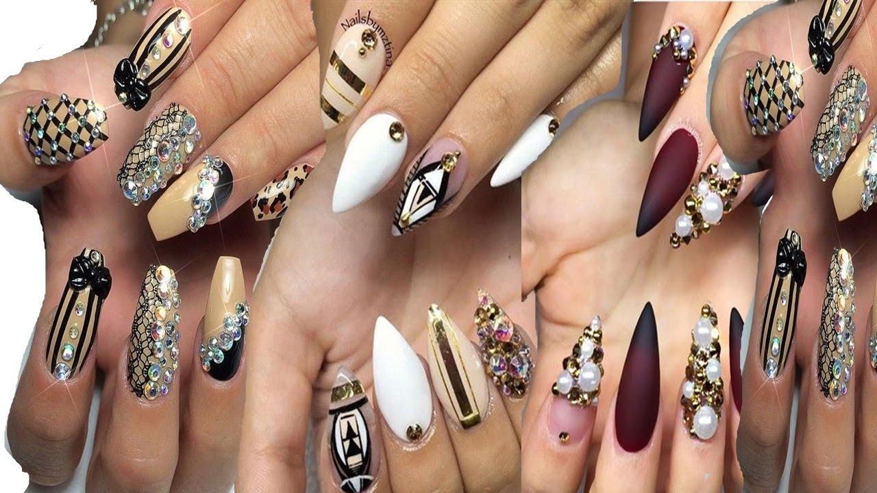 Letest Fashion Acrylic Nails Ladies Flowers Fashion On YouTube ...