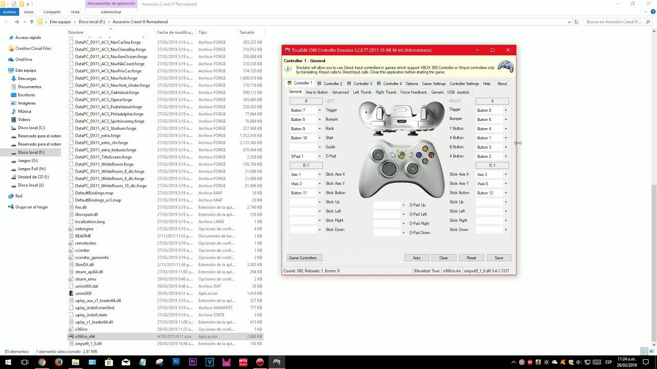 Assassin S Creed Iii Remastered Joystick Con Mando Pc Configurar Joystick 2019 Youtube