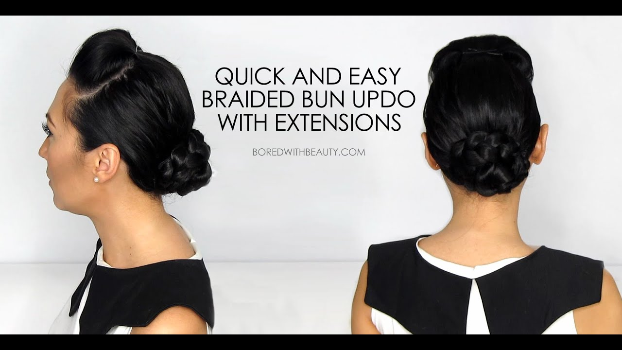 Braided bun updo for short hair with extensions youtube braided bun updo for short hair with extensions pmusecretfo Image collections