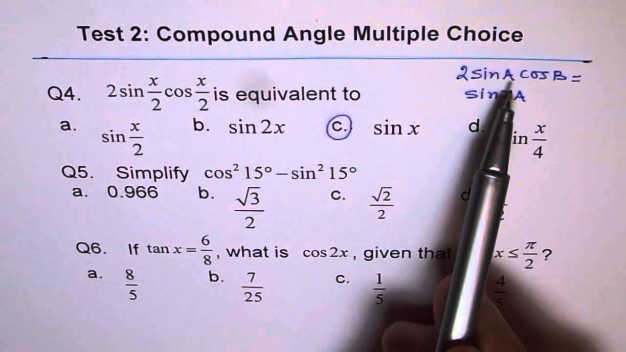 Multiple Choice Trig Equations Q4 to Q6