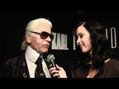Karl Lagerfeld interviewed by Katy Perry at Paris Fashion Week Spring 2010 for ELLE