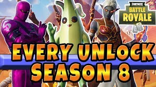 Fortnite Season 8 Battle Pass Every Item Tier 100 Skin Camo Dances Emote Sprays in Fortnite Season 8