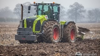 Spring Time Cultivation with Claas 5000 Xerion with 9 furrow plough