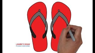 How to Draw a Flip Flops Step By Step Easy For Kids