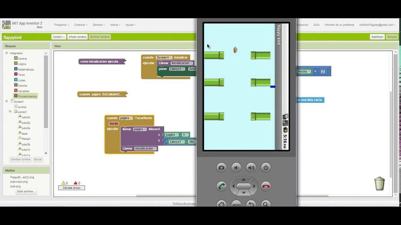 16 tocar bodes Flappy bird en app inventor videotutorial