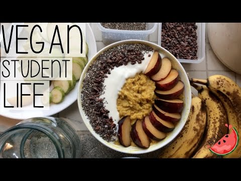 WHAT I EAT IN A DAY + WHAT'S IN MY FOOD CUPBOARD? // VEGAN STUDENT LIFE