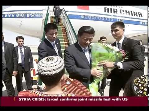 Xi Jinping arrives in Turkmenistan