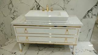 Обзор Oasis Lutetia мебель для ванной Lucido BIANCO столешница Marmo bianco statuario