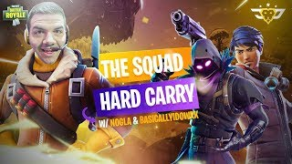 THE SQUAD HARD CARRY?! with BasicallyIDoWrk and Nogla! (Fortnite: Battle Royale)