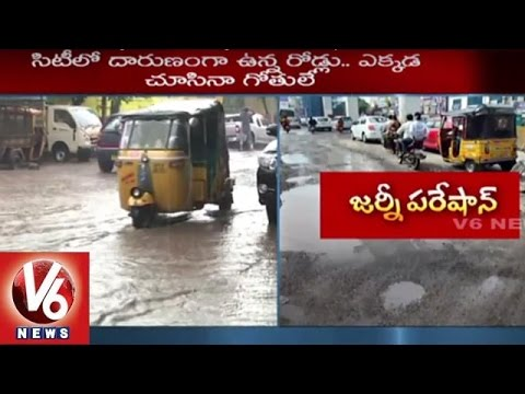 Hyderabad Roads | Motorists Facing Problem with Damaged Roads | Heavy Rains | V6 News