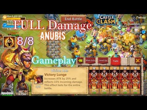 Full Damage Anubis Gameplay INSANE DAMAGE! Castle Clash