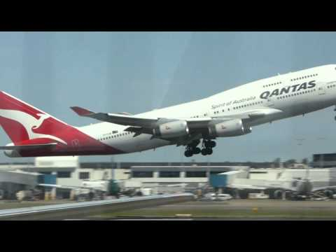 Boeing 747 takeoffs from Kingsford Smith International Airport Sydney