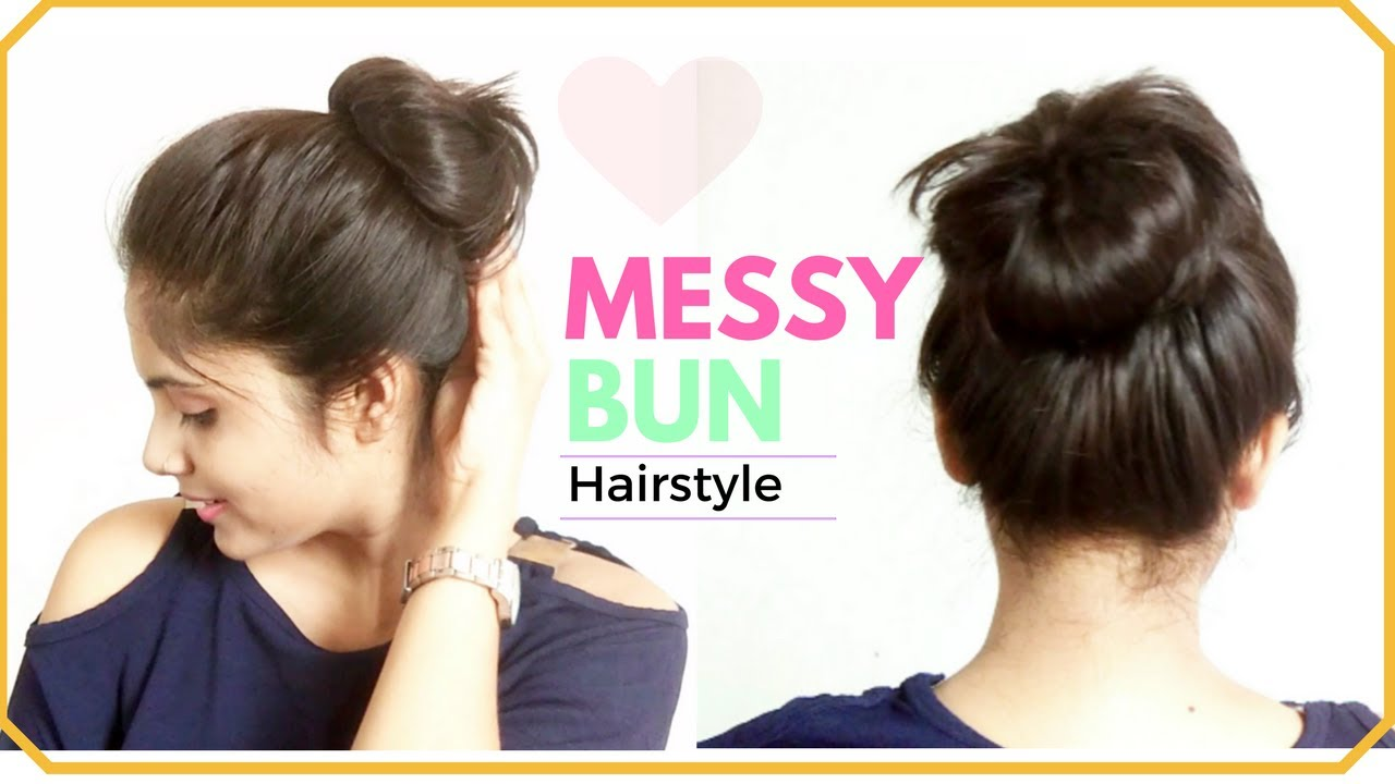12 Minute EASY Everyday Messy Bun Hairstyle  Simple Bun Hair Tutorial for  Medium hair