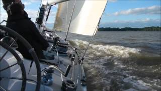 Sailing 12 Meter Yacht Crusader on the River Orwell