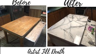 Turning A Wooden Table Into Silver and White Marble with Resin!!!!